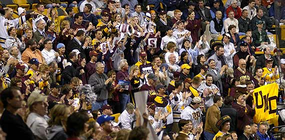 UMD Bulldog fans cheer for the hockey team at Boston.