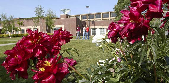 Students walk past flowers in front of Solon Campus Center.