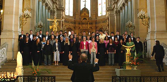 University Singers and Chamber Singers warm up for their performance in the L'eglise de la Trinité in Paris on May 19.