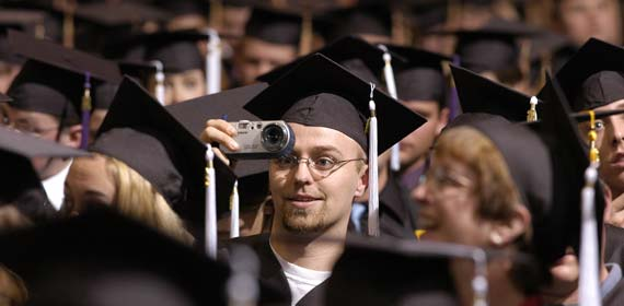 A student captures the scene last year during undergraduate ceremonies at the DECC.