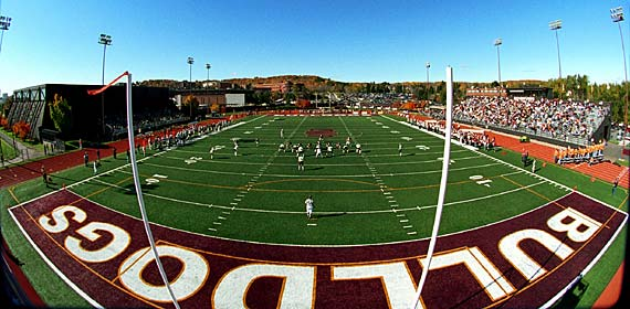 A capacity crowd fills Malosky Stadium as the UMD football team battles another opponent on Griggs Field. This is the 40th year the Bulldogs have called the stadium home.