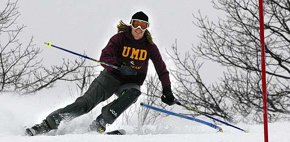 UMD Ski Team member Heather Ziebell races through gates at Spirit Mountain during a practice session this month.