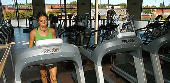 UMD students sample the cardio equipment in the new 46,000 square foot addition to the Sports and Health Center.