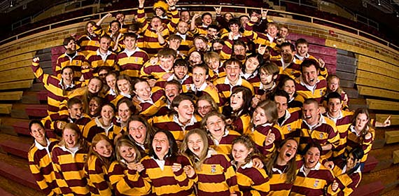 Over 70 members of UMD's Pep Band bring enthusiasm and school spirit to athletic and campus events.