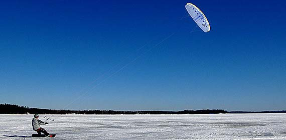 UMD's Recreational Sports Outdoor Program offers training in a number of adventure sports including kiteboarding. This shot was taken on Island Lake.