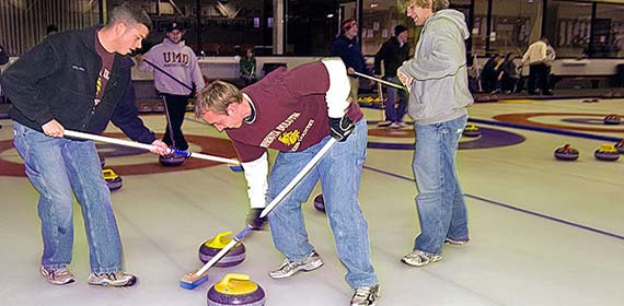 UMD's intramural curling league has 16 teams and weekly competition.