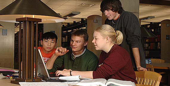 With wireless access and 395 network connections, the UMD Library is a popular spot for group study.