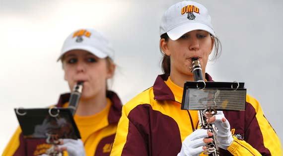 The Marching Band made its debut at UMD's Homecoming after an 18-year hiatus.