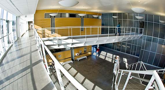 A two-story atrium unites the research and teaching labs in the James I. Swenson Science Building.