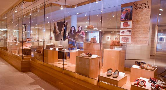 American Indian art display at the Tweed Museum of Art.