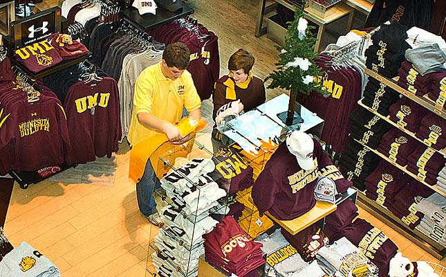 From text books to art supplies, computer ware, office products, gifts, clothing, and snacks, UMD Stores meets the needs of the University of Minnesota Duluth. A portion of each sale of licensed imprinted items goes toward scholarships. Go Bulldogs!
