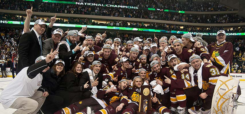 Bulldog fans around the world are celebrating as the Men's Hockey Team wins its first NCAA Div I championship. UMD scored 3:22 minutes into overtime for a 3-2 victory over Michigan on Saturday, April 9. The 'Dogs played for a sellout crowd of 19,222 at the Xcel Energy Center in St. Paul.