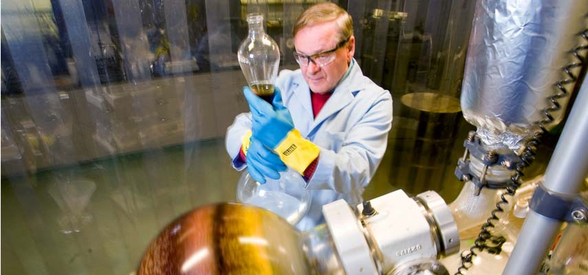 A chemist at UMD's Natural Resources Research Institute has patented a process to make the corn ethanol process more efficient, extracting more products from the left-over grains.