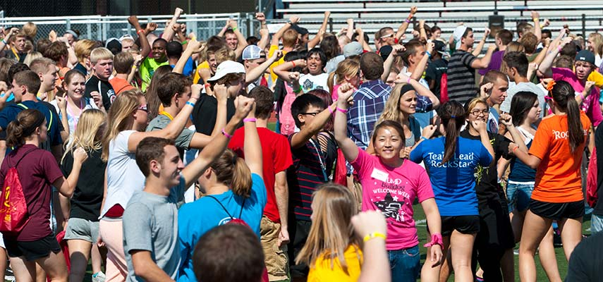 Upperclass students, UMD RockStars, create an inclusive, energizing environment for freshman during Bulldog Welcome Week.
