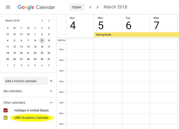 Umn Academic Calendar.Umd Subscribe To Academic Calendar With Google Calendar