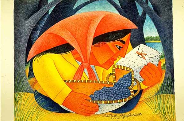 Woman and Blueberries, Parick DesJarlait, 1971