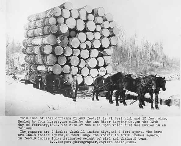 Load of logs hauled one mile by four horses. Thirty one thousand four ...