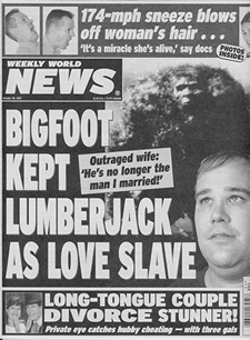 Tabloid cover about bigfoot,