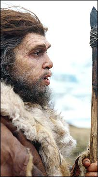 Neandertal with spear.