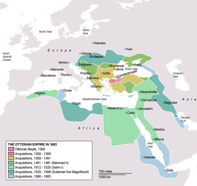 Map depicting the Ottoman Empire at its greatest extent, in 1683.