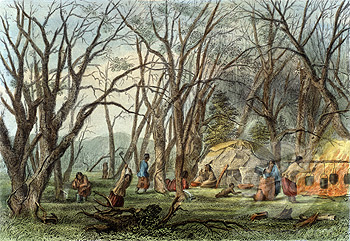 Indian Sugar Camp, Seth Eastman, ca. 1850