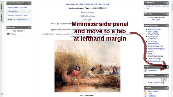 Screenshot of Moodle Main and Side Panels