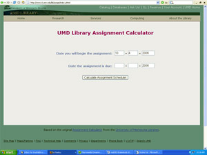 Assignment Calculator available online from the UMD Library.