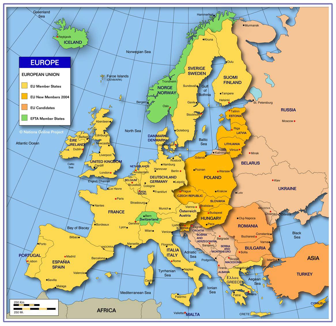 EU Map. EU Countries