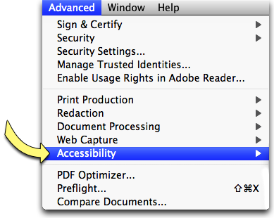 Screenshot: Adobe Acrobat's Advanced Menu