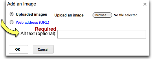 Screenshot: of the Google Sites Add an Image dialog window (annotated)