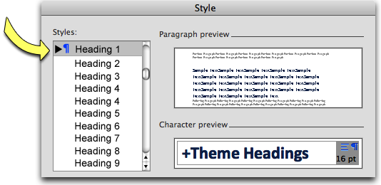 Screenshot: Microsoft Word's style window