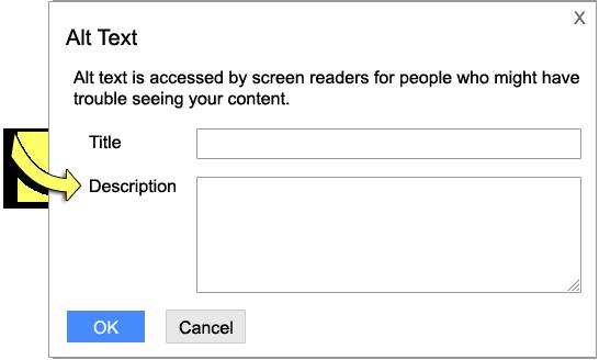 Screenshot: Alt Text Window.