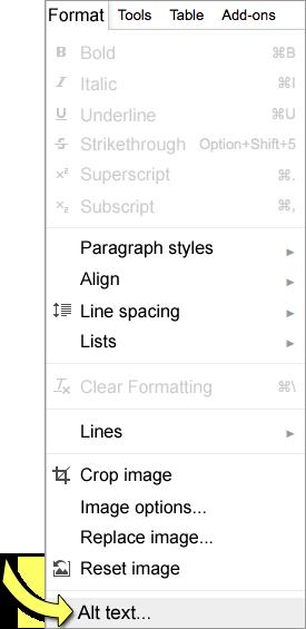 Screenshot: Format menu