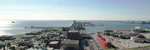View of Lake Superior (to the left) and the DECC (to the right).