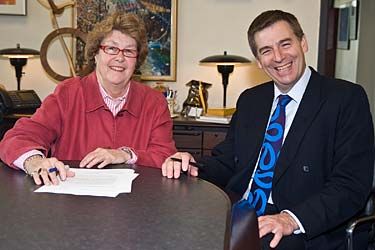 UMD Chancellor Kathryn A. Martin and University of Worcester Chief Executive David Green.