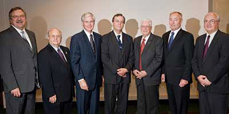 UMD Chancellor Lendley C Black (left) with SCSE Academy Members and Dean James P Riehl (right)